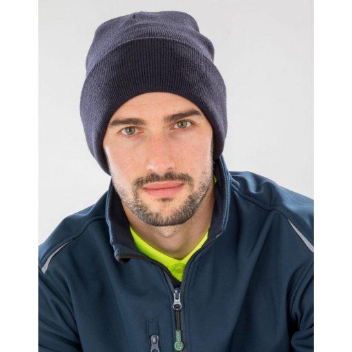 Férfi téli sapka Result Recycled Woolly Ski Hat Egy méret, Fekete