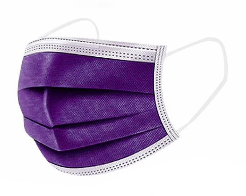 Mély lila szájmaszk csomagban, sebészeti szájmaszk, orvosi maszk, orvosi szájmaszk 1-50 db