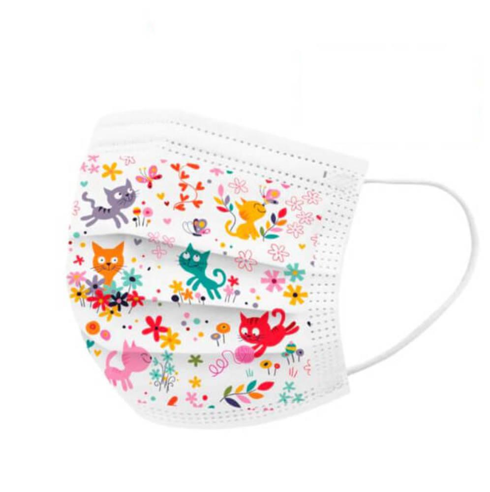 Gyerek szájmaszk, védőmaszk, cicás, macskás, állatos, rajzfilmes, mesefigurás, 3 rétegű gyermek maszk