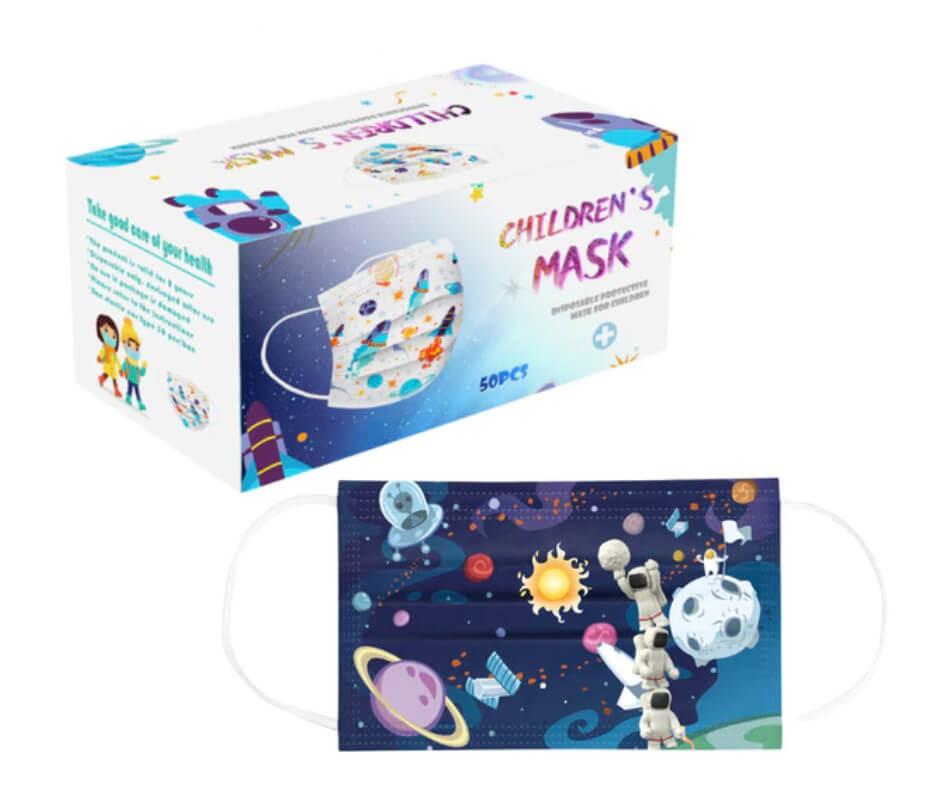 Gyerek szájmaszk, színes űrhajós védőmaszk, űrrepülő, rajzfilmes, mesefigurás, 3 rétegű gyerek maszk