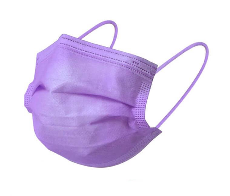 Lila szájmaszk csomagban, lila pánt, sebészeti szájmaszk, orvosi maszk, orvosi szájmaszk 1-50 db