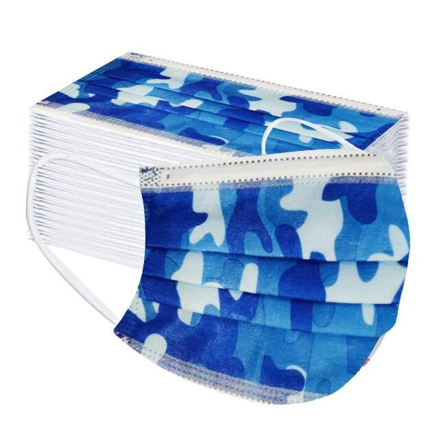 Gyerek kék-fehér terepmintás szájmaszk, színes mintás gyerek szájmaszk, 3 rétegű gyerek maszk csomagban