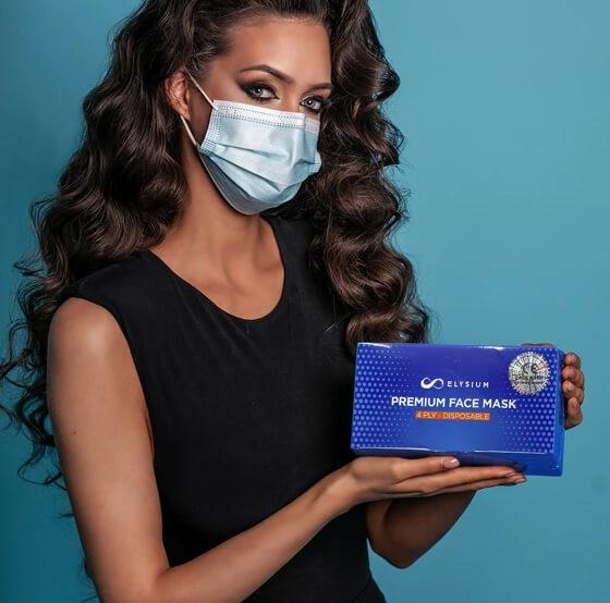 Elysium 4 rétegű prémium kék maszk 50 db dobozonként, sebészeti szájmaszk csomagban, orvosi maszk, orvosi szájmaszk