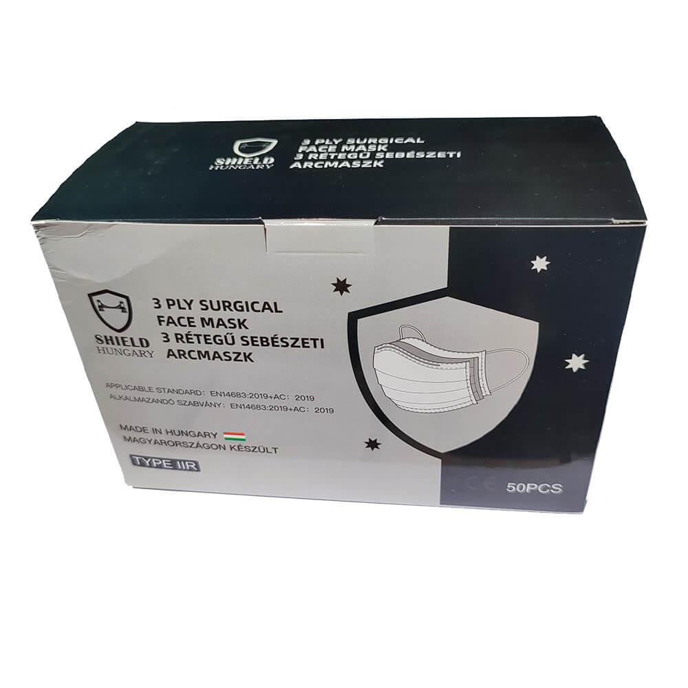 Shield 3 rétegű prémium fekete maszk 50 db dobozonként, sebészeti szájmaszk csomagban, orvosi maszk, orvosi szájmaszk