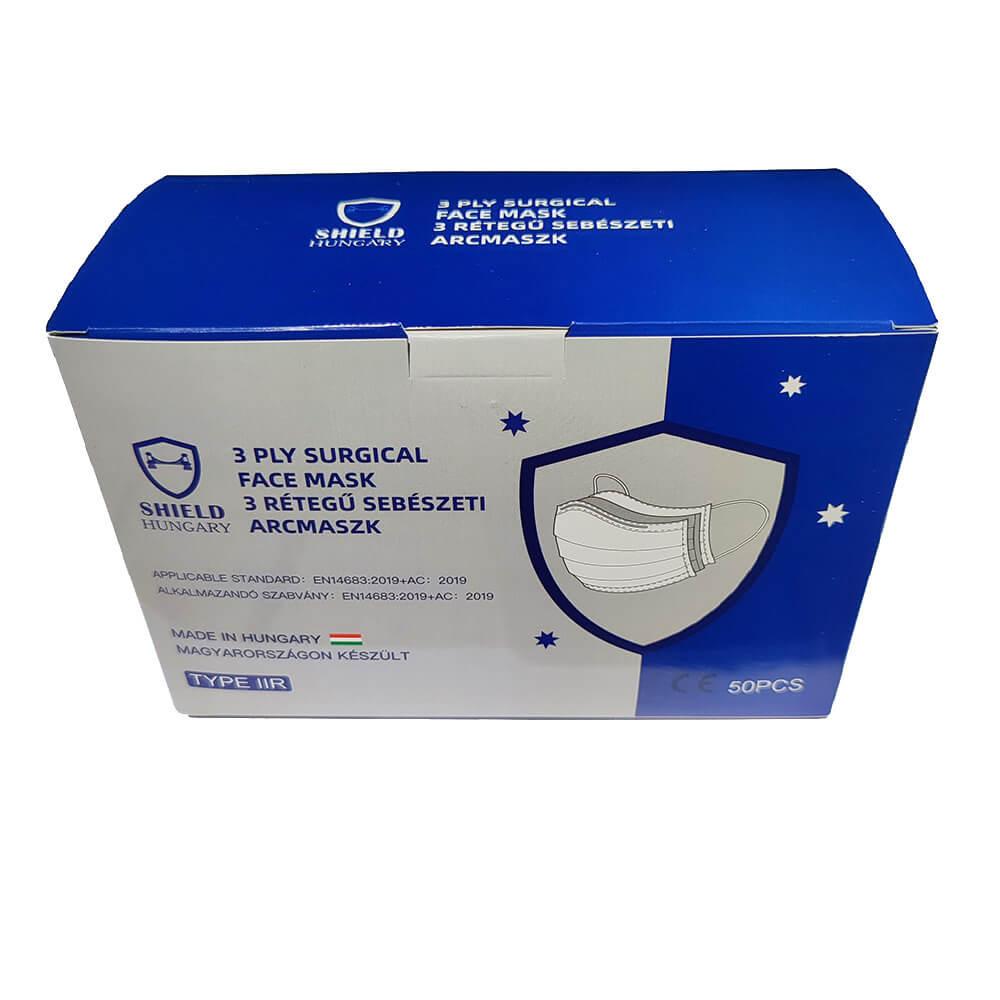 Shield 3 rétegű prémium kék maszk 50 db dobozonként, sebészeti szájmaszk csomagban, orvosi maszk, orvosi szájmaszk
