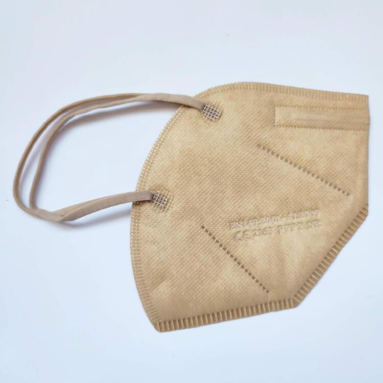 KN95, FFP2 khaki színű, khaki barna maszk, felnőtt szájmaszk csomagban