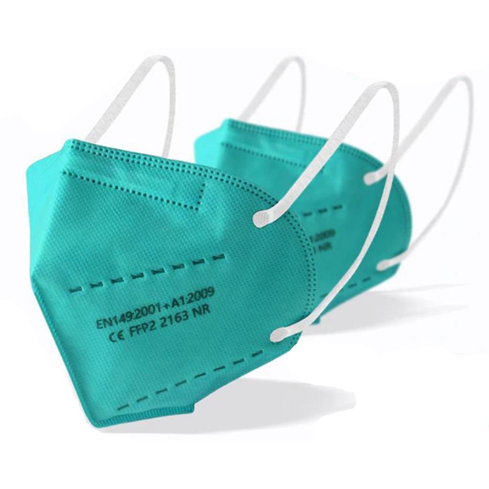 KN95, FFP2 mentazöld maszk, világos zöld, zöld felnőtt szájmaszk csomagban