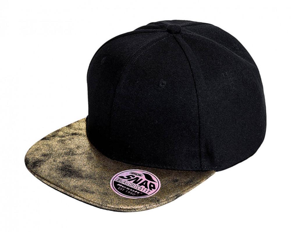 Uniszex sapka Result Caps Bronx Glitter Flat Peak Snapback Cap Egy méret, Fekete/Aranysárga