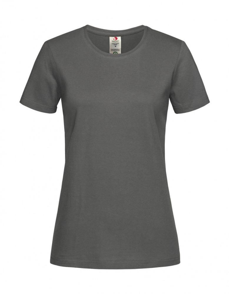 Női rövid ujjú organikus póló Stedman Classic-T Organic Fitted Women L, Igazi szürke