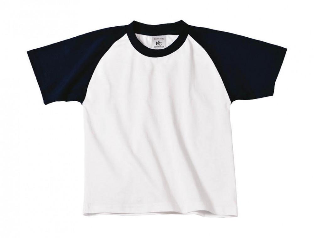 Gyerek rövid ujjú póló B and C Base-Ball/kids T-Shirt 7/8 (122/128), Fehér/Sötétkék (navy)