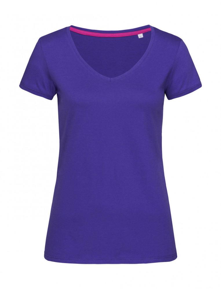 Női rövid ujjú póló Stedman Megan V-Neck S, Mély lilac