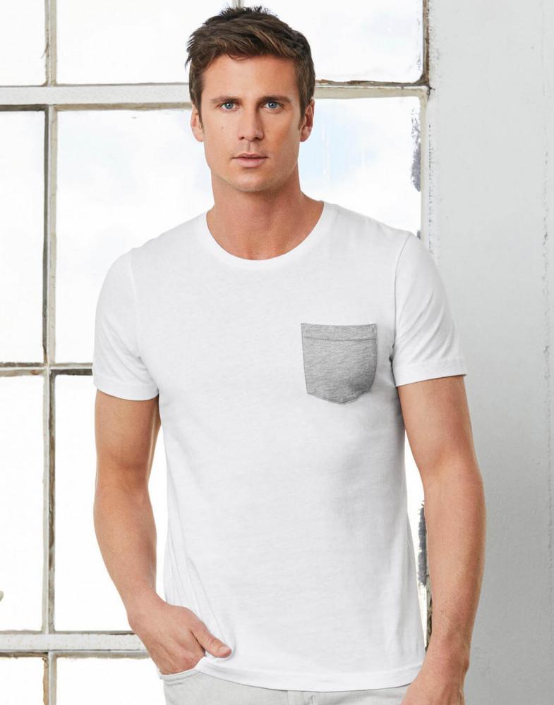 Férfi rövid ujjú póló Bella Canvas Men's Jersey Pocket T-Shirt S, Fehér/Fekete