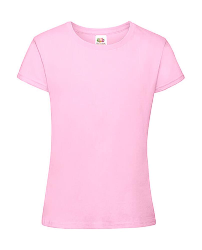 Gyerek póló Rövid ujjú Fruit of the Loom Sofspun T Girls - 140 (9-11), Világos rózsaszín (pink)