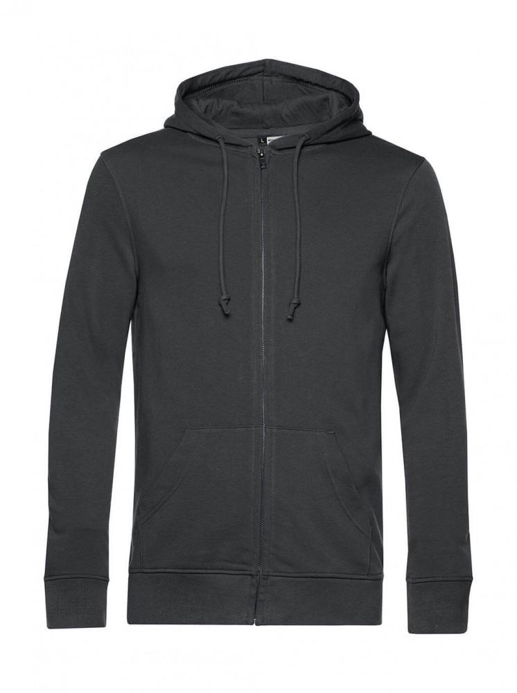 Férfi kapucnis hosszú ujjú organikus pulóver B and C Organic Zipped Hooded XS, Aszfalt szürke