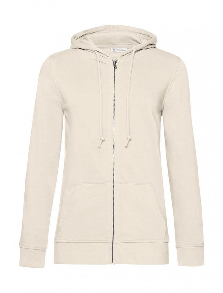 Női kapucnis hosszú ujjú organikus pulóver B and C Organic Zipped Hooded /women M, Törtfehér
