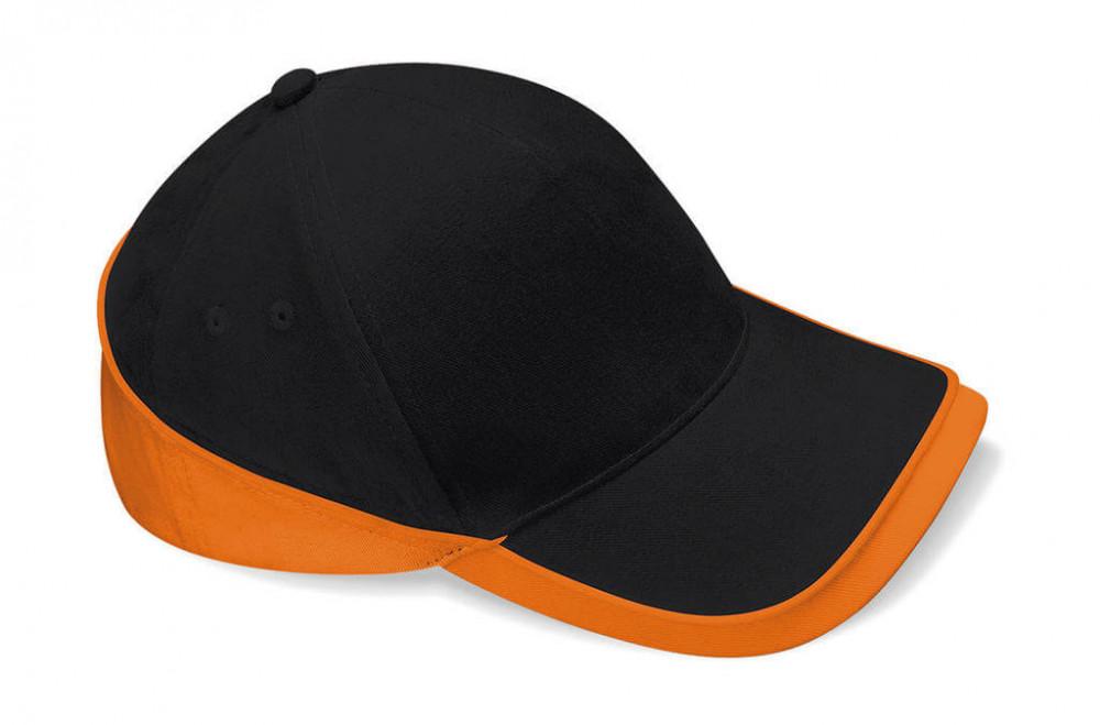 Női sapka Beechfield Teamwear Competition Cap Egy méret, Fekete/Narancssárga