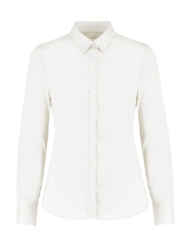 Női hosszú ujjú blúz Kustom Kit Women's Tailored Fit Stretch Oxford Shirt LS 3XL, Fehér