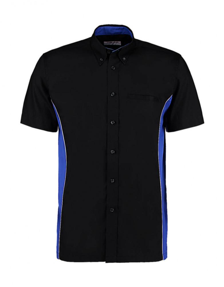 Férfi rövid ujjú galléros póló Kustom Kit Classic Fit Sportsman Shirt SSL 3XL, Fekete/Királykék/Fehér