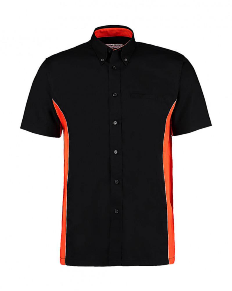 Férfi rövid ujjú galléros póló Kustom Kit Classic Fit Sportsman Shirt SSL S, Fekete/Narancssárga/Fehér