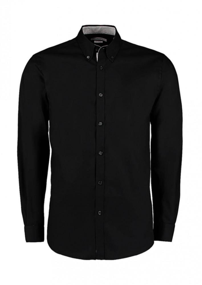 Férfi hosszú ujjú Ing Kustom Kit Tailored Fit Premium Contrast Oxford Shirt S, Fekete/Silver