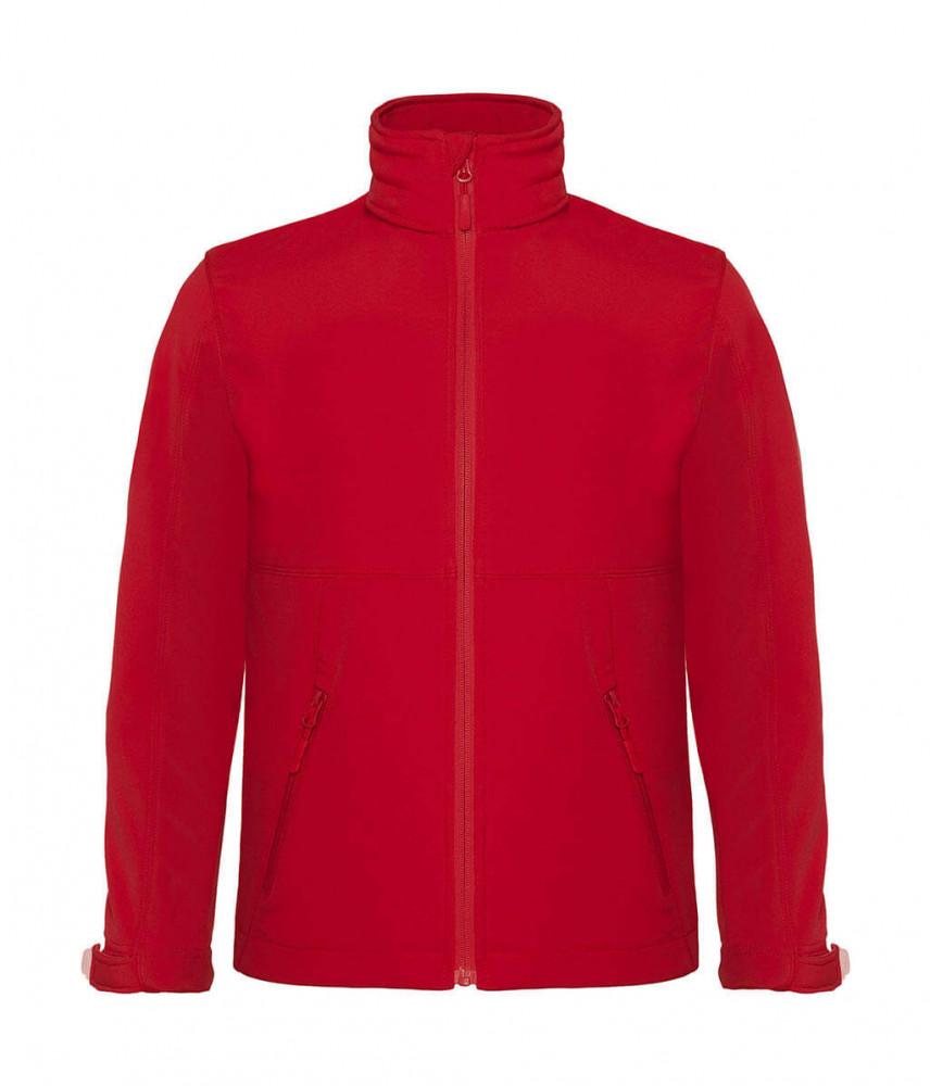Gyerek kapucnis kabát B and C Hooded Softshell/kids 7/8 (122/128), Piros