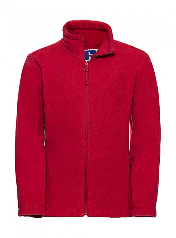 Gyerek hosszú ujjú kabát Russell Europe Kids' Full Zip Outdoor Fleece 2XL (152/11-12), Piros