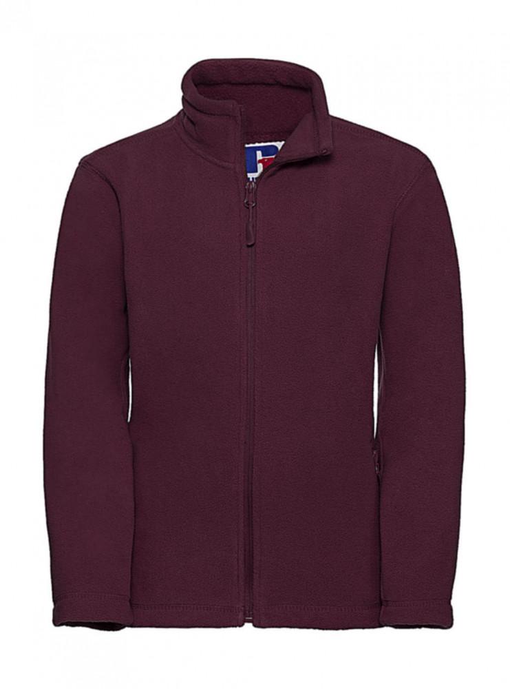 Gyerek hosszú ujjú kabát Russell Europe Kids' Full Zip Outdoor Fleece 2XL (152/11-12), Burgundi vörös