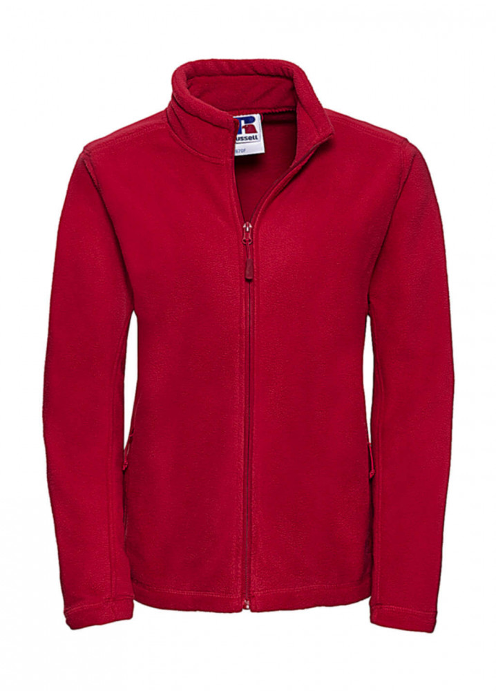 Női hosszú ujjú polár Russell Europe Ladies' Full Zip Outdoor Fleece XS, Piros