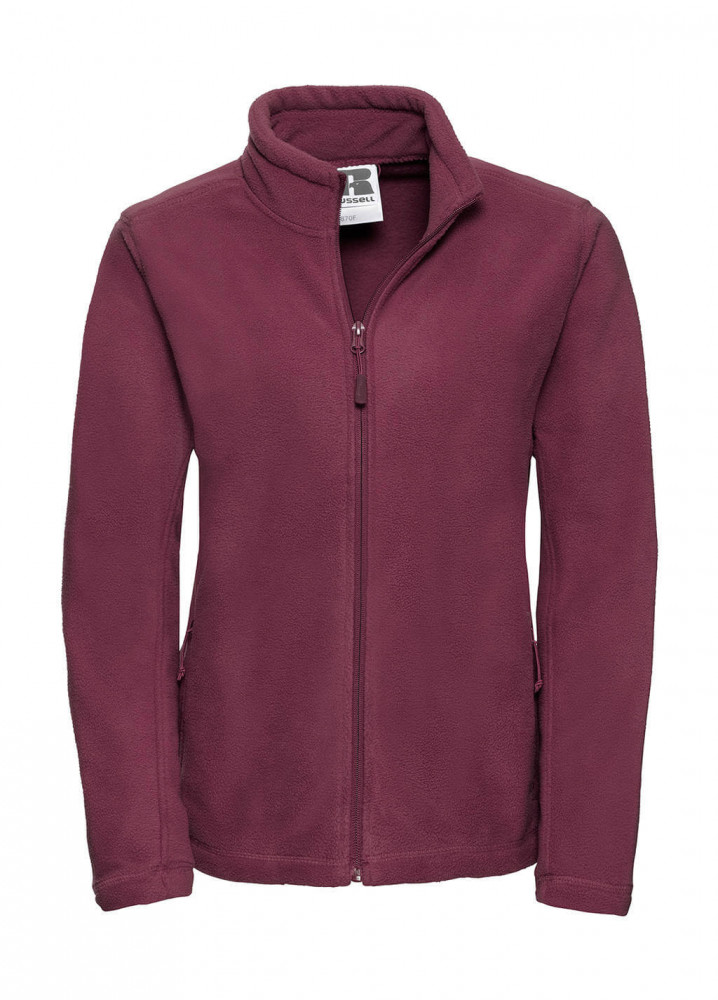 Női hosszú ujjú polár Russell Europe Ladies' Full Zip Outdoor Fleece XL, Burgundi vörös
