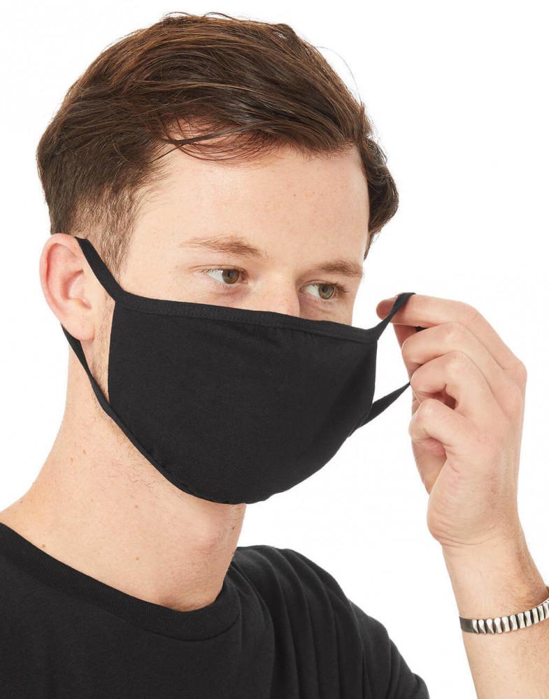 Uniszex szájmaszk Bella Canvas 2-Ply Reusable Face Mask M/L, Fekete
